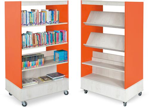 Foxis boekenkast dubbelzijdig B900 x D600 x H1660 mm - ahorn-oranje