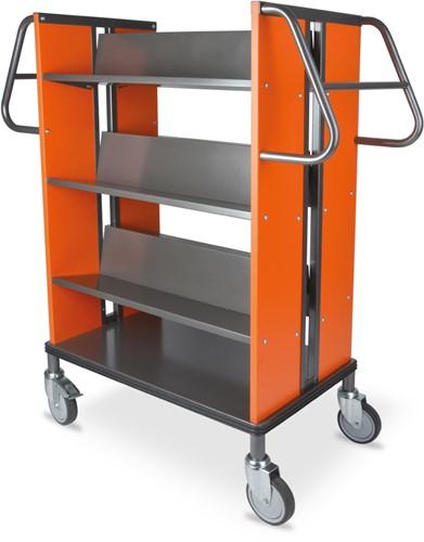 Boekenwagen StaalQar Grafietgrijs/oranje, 6x legger staal